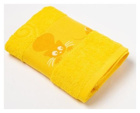 Полотенце махровое с бордюром «Кошки» цвет жёлтый, 30х60см  Текстиль центр