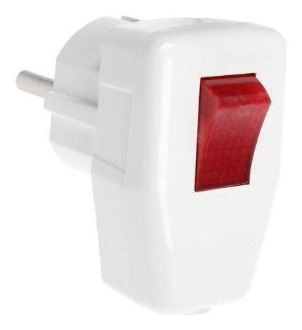 Вилка угловая, 16а, с з/к, с выключателем, белая, розничная упаковка.  LuazON