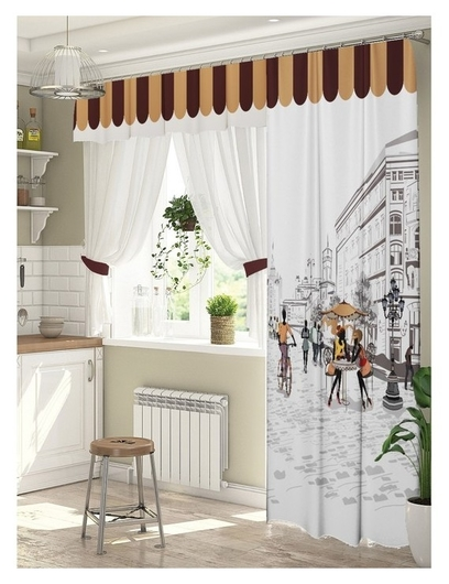 Комплект штор для окон с балконной дверью «Любимый город» штора (147х267 см) тюль (294х160 см) ламбрекен (290х40 см)  ТамиТекс