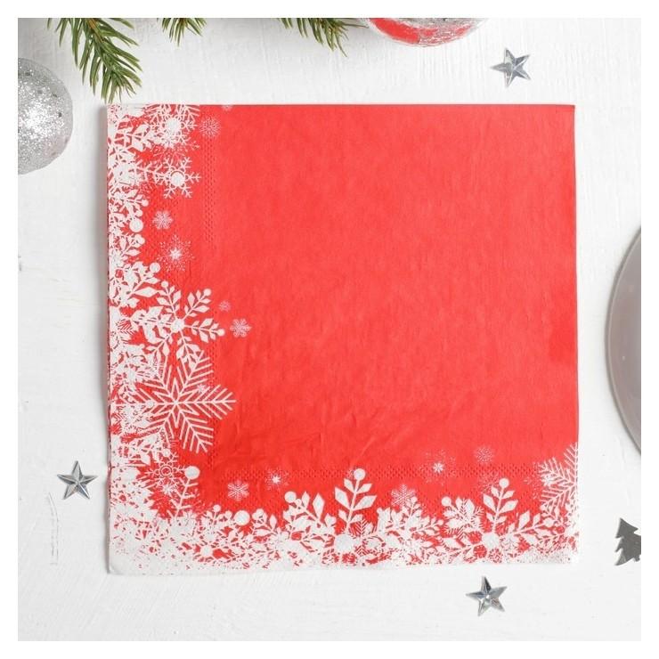 Салфетки бумажные «Снежинки на красном», 33х33 см, набор 20 шт. Страна Карнавалия