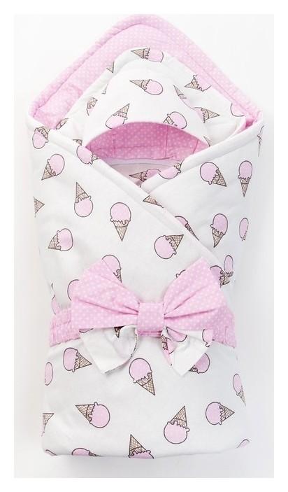 Конверт на выписку «Сластена», серо-розовый, 3 предмета, бязь Моему малышу