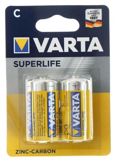 Батарейка солевая Varta Superlife, C, R14-2bl, 1.5в, блистер, 2 шт.  Varta