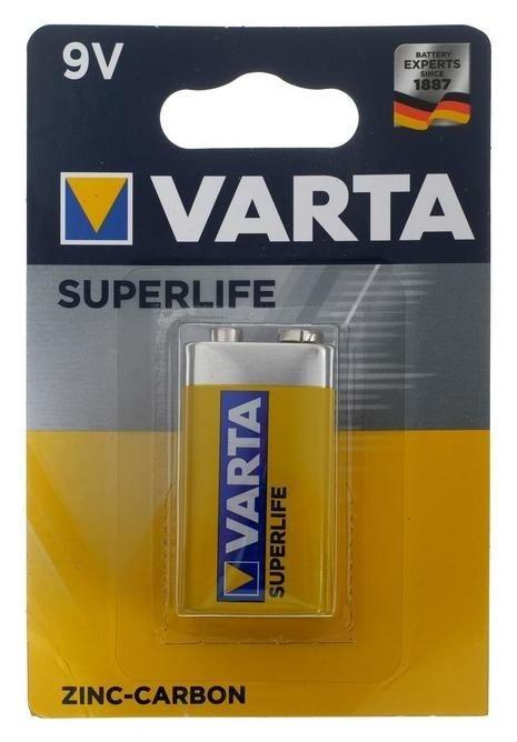 Батарейка солевая Varta Superlife, 6f22-1bl, 9В, крона, блистер, 1 шт.  Varta