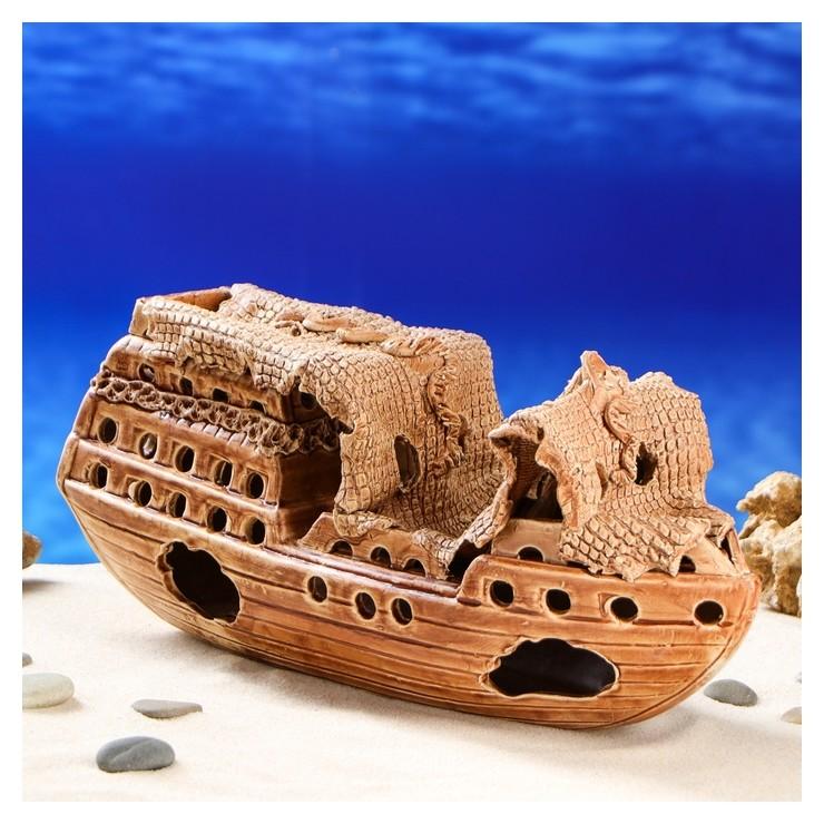 """Декорации для аквариума """"Корабль"""" большой  Керамика ручной работы"""