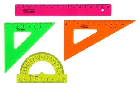 Набор геометрический малый: линейка 16 см, треугольник 7 см 45*, треугольник 10 см 30*, транспортир 8 см 180*. Neon  Стамм