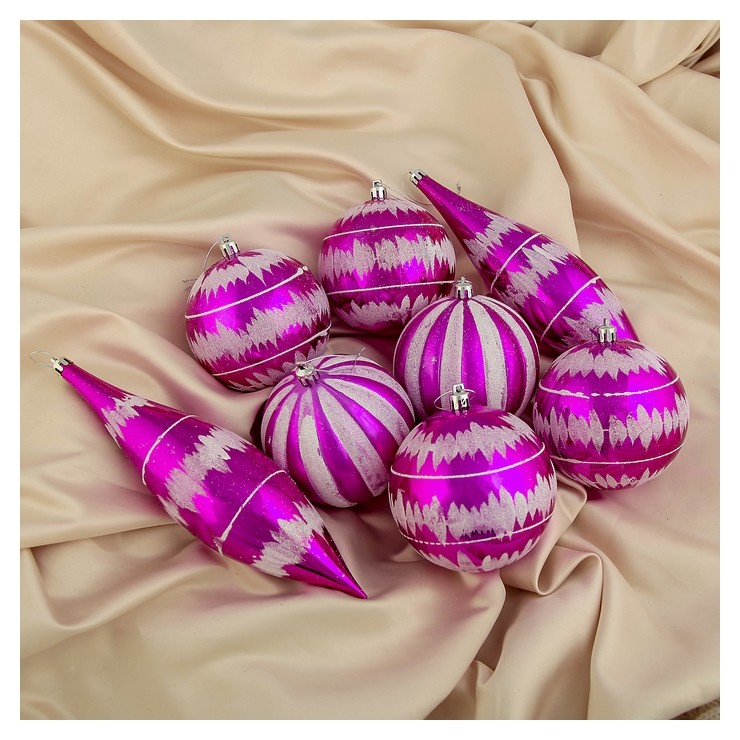 Набор украшений пластик 8 шт Гигант (6 шаров, 2 сосульки) малиновый Зимнее волшебство