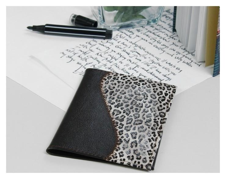 Обложка для паспорта, комбинированная, цвет чёрный/леопардовый Cayman