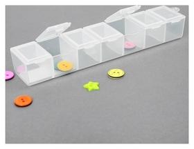 Контейнер для бисера, 15,3 × 3,4 × 2,4 см, цвет прозрачный  NNB