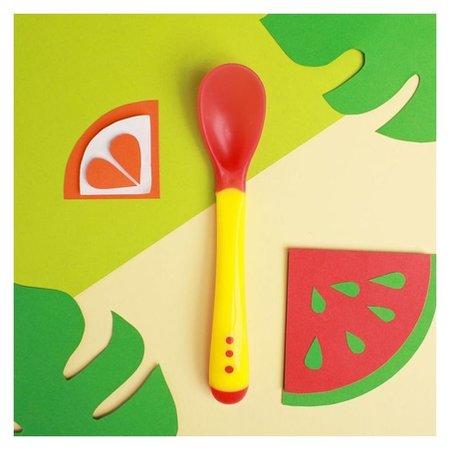 Ложка детская термочувствительная для кормления, от 5 мес., цвет красный/жёлтый  Mum&baby