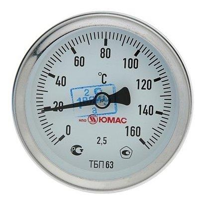 Термометр биметаллический, 150°c, с погружной гильзой 60 мм NNB