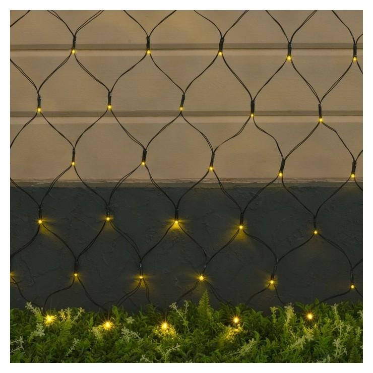 Гирлянда Сеть 2 х 1.5 м, Ip44, тёмная нить, 192 Led, свечение жёлтое, 2 режима, солнечная батарея LuazON