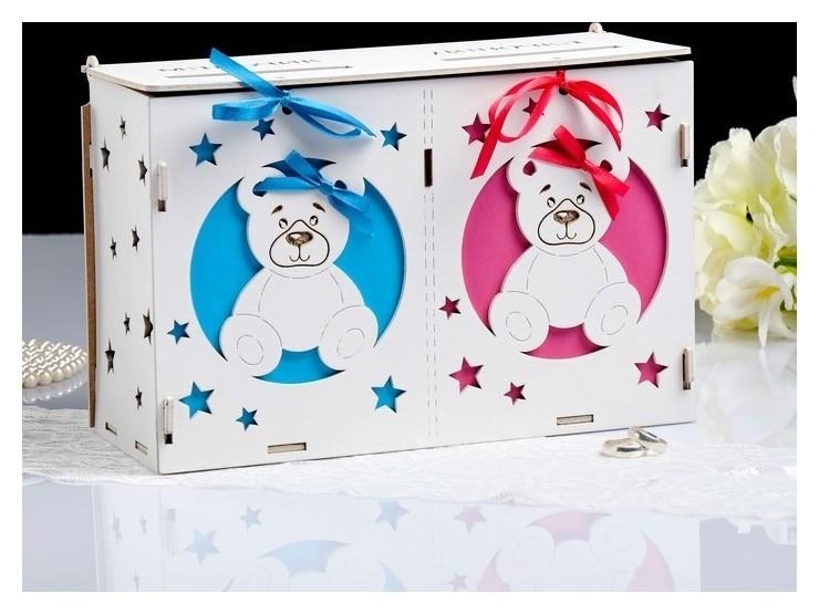 Коробка для денег На новорожденных, розово-голубая, сборная, 27,5*12,5*19 NNB