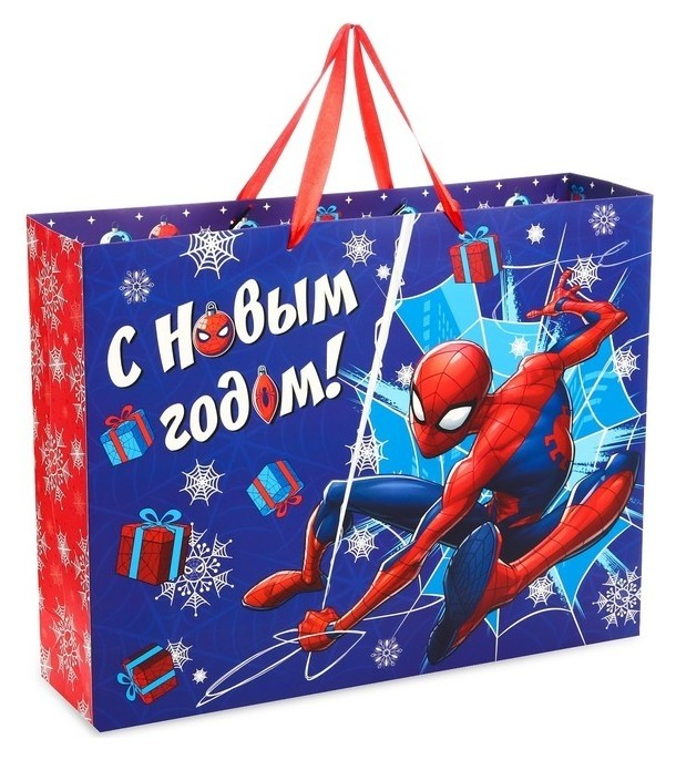 Пакет подарочный ламинированный «С новым годом!», человек-паук, 40 х 31 х 11 см  Marvel