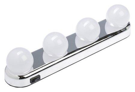 Подсветка для зеркала Luazon 101, 4 лампы, от 4*аа (Не в комплекте), 2 силикон. крепления  LuazON