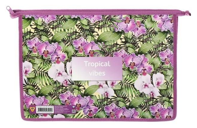 Папка для тетрадей А4, молния сверху, пластиковая/ламинированный картон, пм-а4-291, «Тропические орхидеи»  Пчелка
