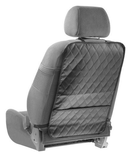 Накидка-незапинайка на спинку сидения, с карманом, экокожа, ромб, серый, размер: 60х40 см  NNB