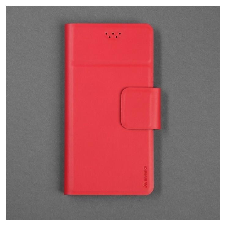 """Чехол-книжка для телефона Maverick Slimcase, универсальный, размер 5-5.2"""", красный  Maverick"""