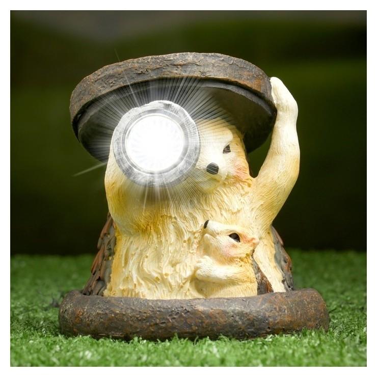 Садовый светильник Ежики на солнечной батарее, 11 см Хорошие сувениры