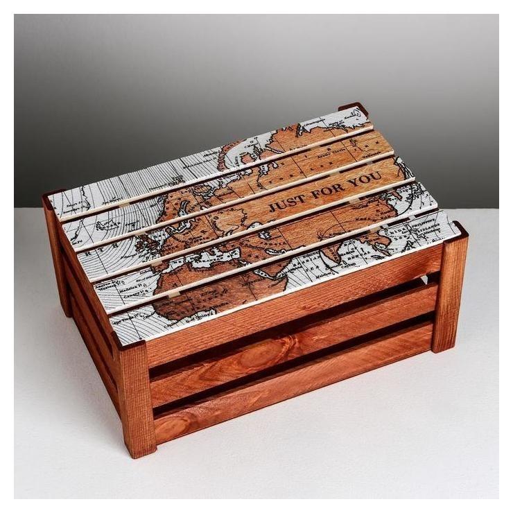 Коробка деревянная подарочная «Карта», 21 × 33 × 15 см