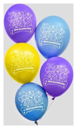 """Воздушные шары """"С праздником!"""", щенячий патруль 12 дюйм (Набор 5 шт)  Paw patrol"""