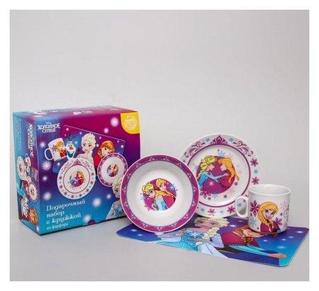 Набор посуды «Анна и эльза», 4 предмета: тарелка Ø 16,5 см, миска Ø 14 см, кружка 200 мл, коврик в подарочной упаковке, холодное сердце  Disney