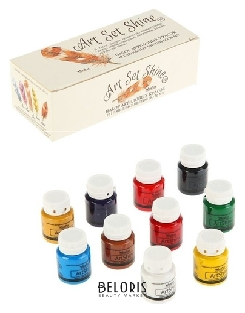 Краска акриловая, набор Shine, 10 цветов по 20 мл, Wizzart Set, глянцевые WizzArt