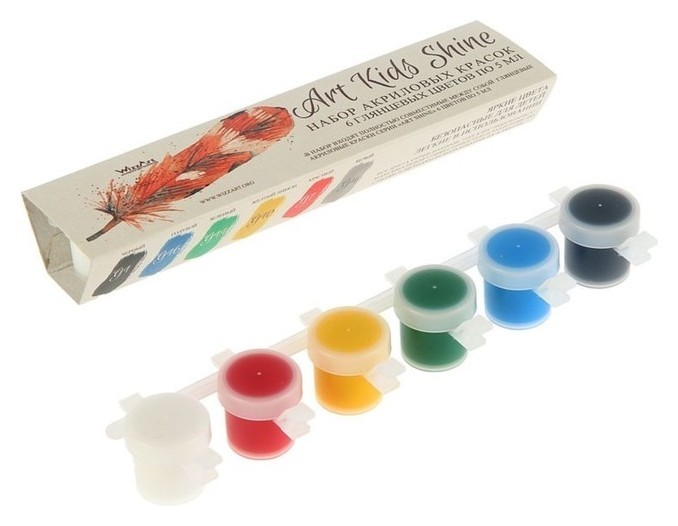 Краска акриловая, набор Shine, 6 цветов по 5 мл, Wizzart Kid, глянцевые  WizzArt
