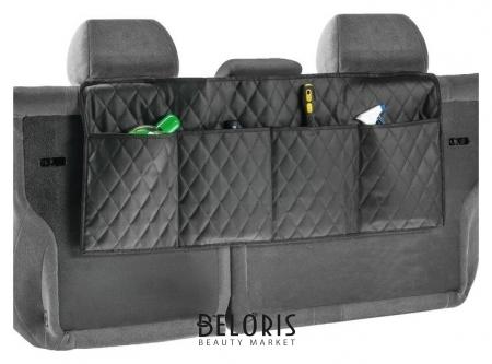 Органайзер на спинку сидения в багажник, экокожа, ромб, черный, размер 95х40 см NNB