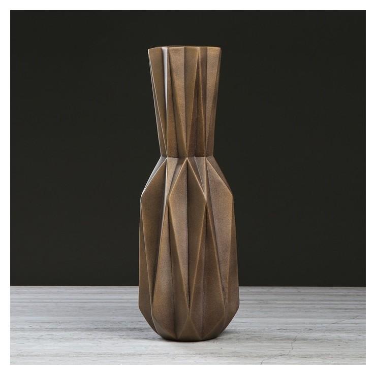 """Ваза напольная """"Кристалл"""", коричневая, 50 см  Керамика ручной работы"""