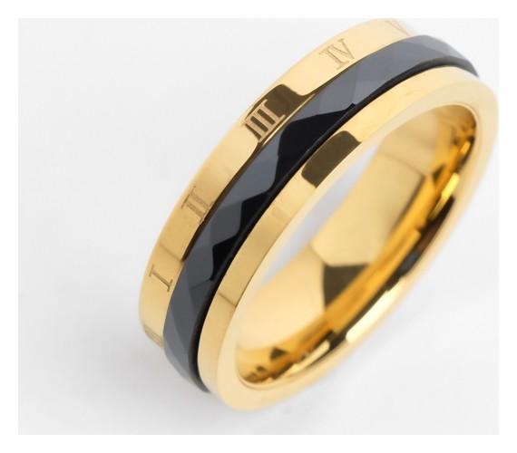 Кольцо керамика Рим, 6мм, цвет чёрный в золоте, 17 размер NNB