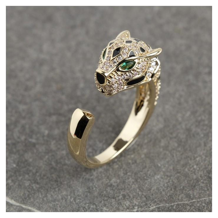 Кольцо Тигр безразмерное, цвет зелёно-белый в золоте NNB