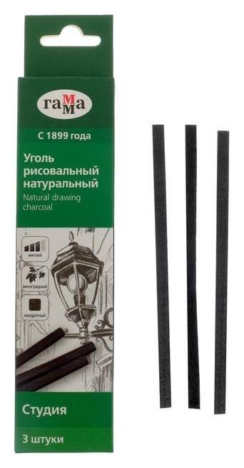 Уголь натуральный 5 мм, набор 3 штуки, квадрат «Гамма» Студия 120 мм, мягкий, виноградный Гамма
