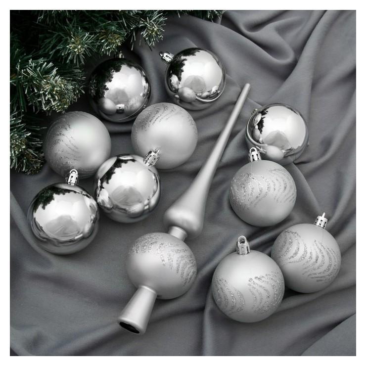 Набор шаров пластик с верхушкой 21 шт Изгибы (20 шаров, верхушка) серебро Зимнее волшебство
