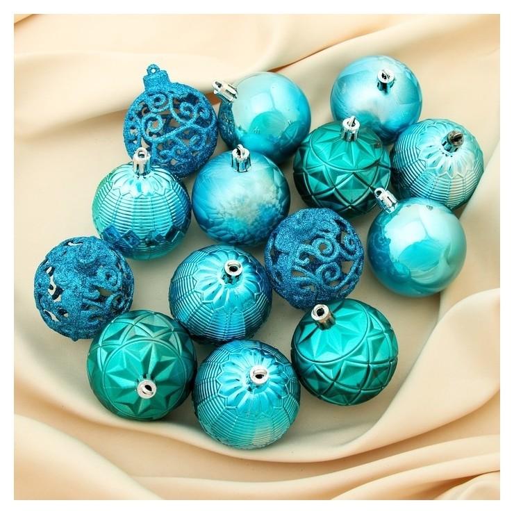 Набор шаров пластик D-6 см, 16 шт Винтаж голубой Зимнее волшебство