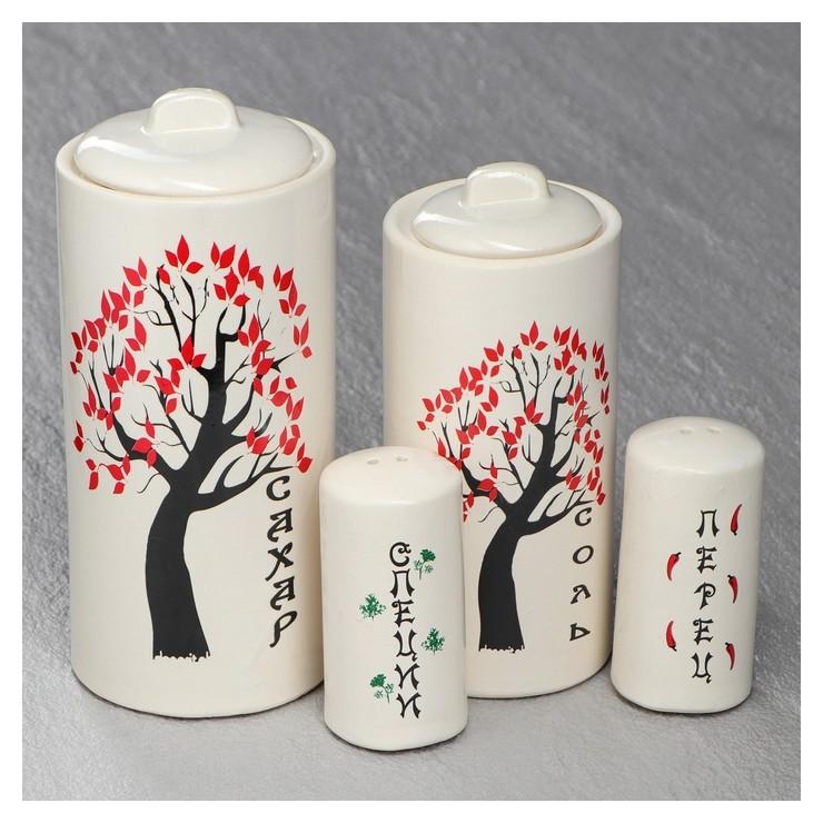 Набор для специй Белая сакура 4 предмета Керамика ручной работы