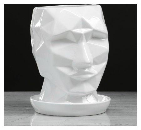 """Горшок для цветов """"Кай"""" 2 л, белый, глянец  Керамика ручной работы"""