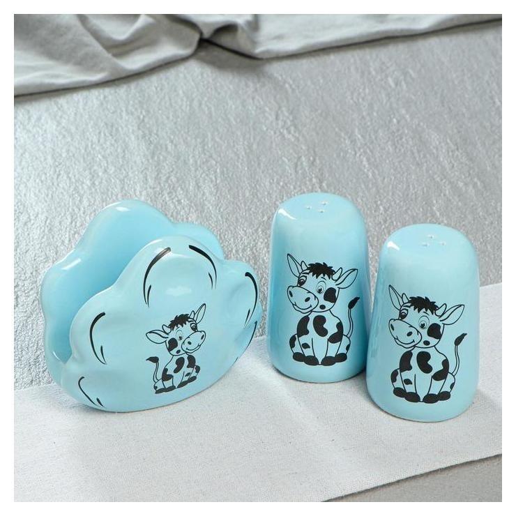 """Набор для специй и салфетница """"Телята"""", глазурь, цвет голубой  Керамика ручной работы"""