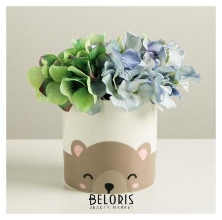Керамический белый горшок «Медведь», 10 х 10 см Дарите счастье