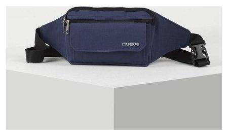 Сумка поясная, отдел на молнии, 3 наружных кармана, цвет синий  RISE