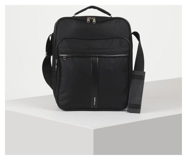 Сумка мужская, отдел на молнии, наружный карман, длинный ремень, цвет чёрный RISE