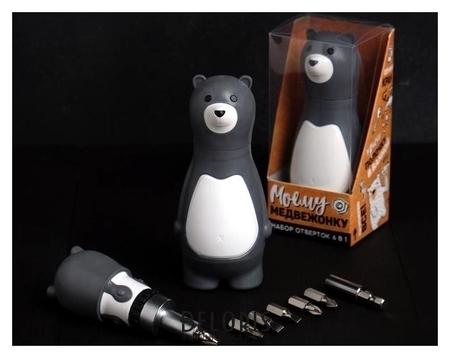 Подарочный набор инструментов Моему медвежонку, подарочная упаковка, набор бит 7 шт, держатель для бит NNB