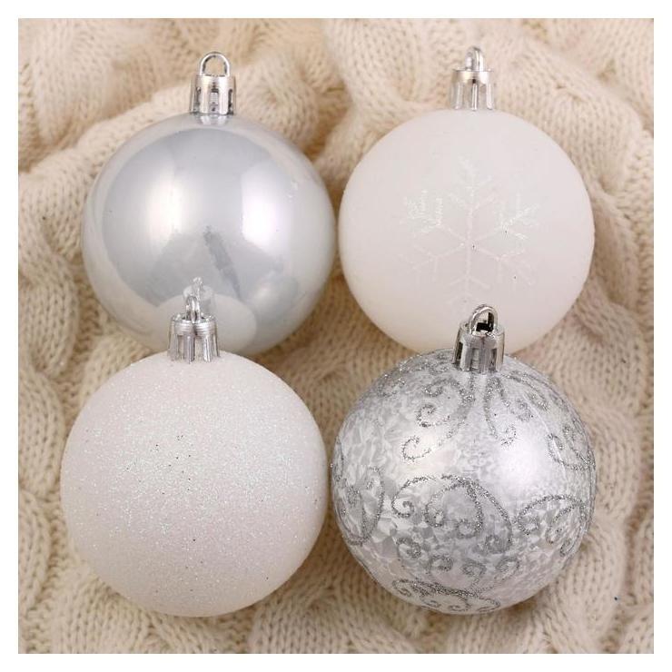 Набор шаров пластик D-6 см, 16 шт Морозный узор серебристо-белый Зимнее волшебство