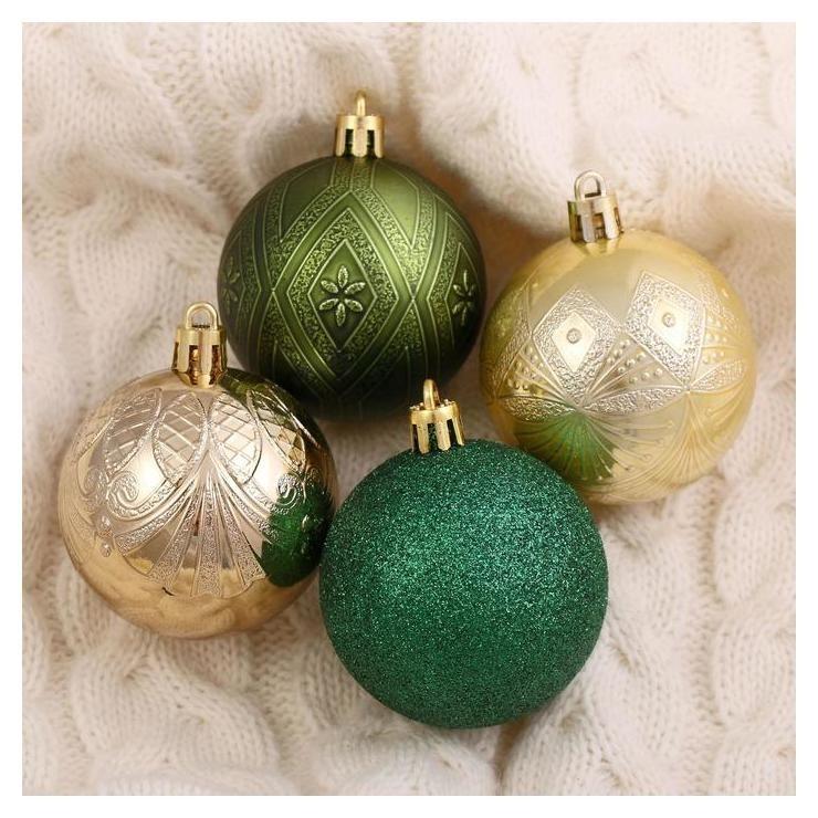 Набор шаров пластик D-6 см, 16 шт Загадка зелёно-золотой Зимнее волшебство