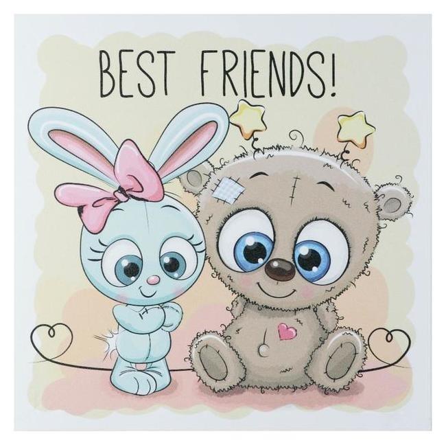Картина Зайка и мишка - лучшие друзья 35х35 см NNB