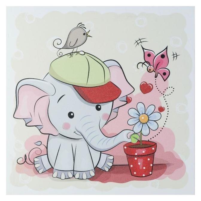 Картина Слоник с цветочком 35х35 см NNB