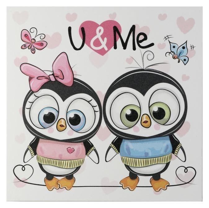 Картина Ты и я - пингвины 35х35 см NNB