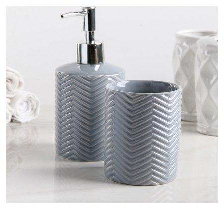 """Набор аксессуаров для ванной комнаты """"Минимал"""", 2 предмета, цвет серый  NNB"""