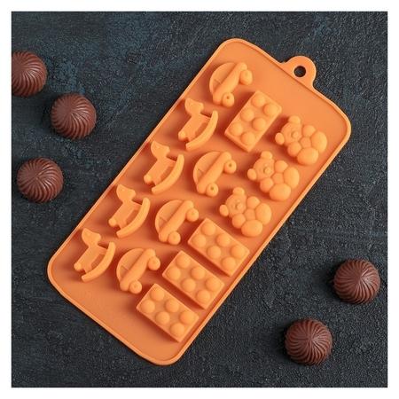 """Форма для льда и шоколада 21×11 см """"Детские игрушки"""", 15 ячеек  Доляна"""