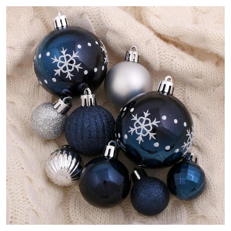 Набор шаров пластик D-3 см, D-4 см, D-6 см, 34 шт Ночные снежинки серебристо-синий Зимнее волшебство