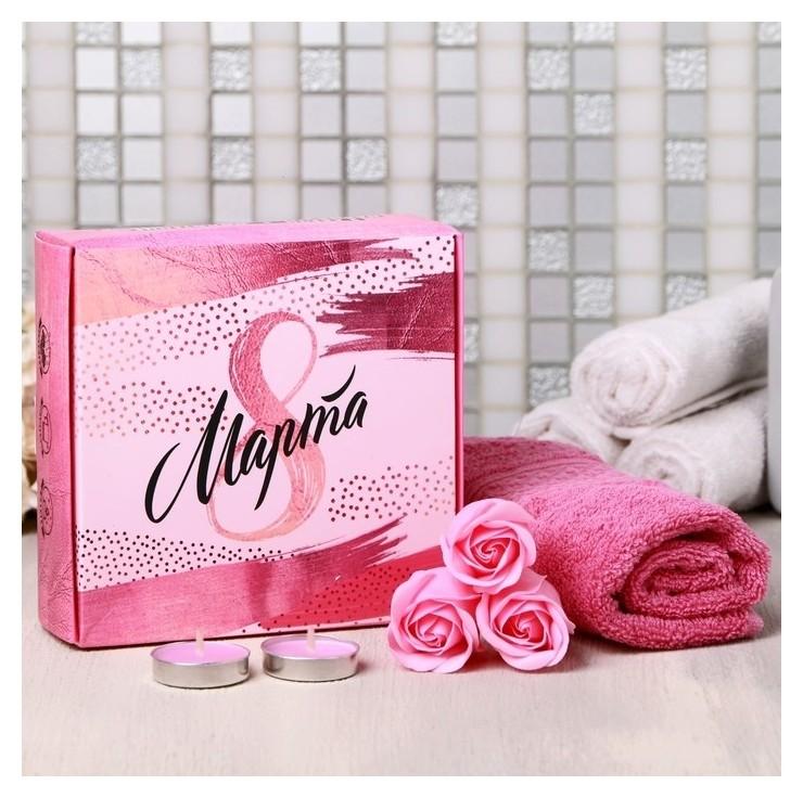 Подарочный набор 8 марта, мыльные розы 3 шт., 2 свечи, полотенце Чистое счастье